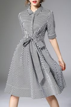 Shop zeraco white/black waisted corset zip zig bowknot dress here, find your midi dresses at dezzal, huge selection and best quality. Modest Fashion, Fashion Dresses, Black White Striped Dress, Midi Dresses Online, Pretty Dresses, Designer Dresses, Vintage Dresses, Dress Skirt, Casual Dresses