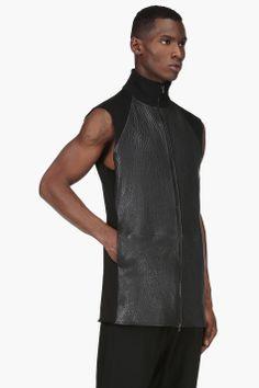 MAISON MARTIN MARGIELA Black Leather Panel Vest