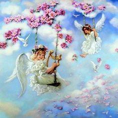 "Sandra Kuck "" Angels of Joy "" Children Angel Art Print Image Size x Angel Images, Angel Pictures, Baby Engel, I Believe In Angels, Angels Among Us, Guardian Angels, Angel Art, Christmas Angels, Fantasy Art"