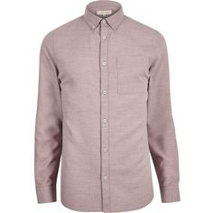 River Island Pink flannel long sleeve shirt (57 CAD) ❤ liked on Polyvore featuring men's fashion, men's clothing, men's shirts, men's casual shirts and shirts