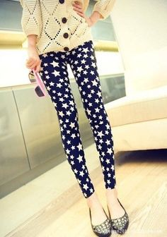 STARS LEGGINGS S XS M goth rockabilly punk hipster nautical roller derby yoga  #Unknown