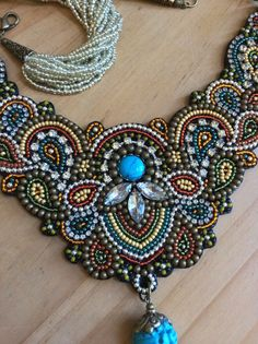 Bead Embroidery Necklace with Tassel Beadwork by perlinibella