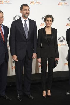 King Felipe VI of Spain, Queen Letizia of Spain and Matias Prats attend 'Antena 3' 25th Anniversary Reception at the Palacio de Cibeles on January 29, 2015 in Madrid, Spain.(Source : Antena3)