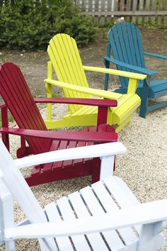 How to Spray Paint a Wooden Adirondack Chair: Step- by-step instructions can be found here! Rust-Oleum offers so many colors to choose from! See all of the colors here:http://www.rustoleum.com/Rustoleum/product-catalog/consumer-brands/universal this is a one stop shop from primer, colors and clear top. If these chairs are going to be left outside, try topcoating it with this: http://www.rustoleum.com/product-catalog/consumer-brands/wood-care/ultimate-aerosols-spar-varnish/ for longer last!