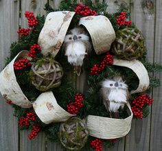 Winter / Christmas Wreath - Natural Wreath for Christmas and All Winter Long - Holiday Wreath with Birch and Owls.