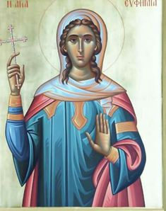 Today we celebrate the Holy Great Martyr Euphemia. Saint Euphemia was captured by pagans when she was in hiding to avoid sacrificing to the idols. She was subject to many cruel tortures which. Orthodox Christianity, Orthodox Icons, Pagan, Princess Zelda, Fictional Characters, Art, Art Background, Kunst, Performing Arts