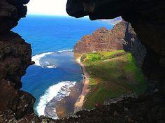 view of nualolo kai, na pali, kauai, taken from hiking down the ridge from the nualolo lookout trail via kokee