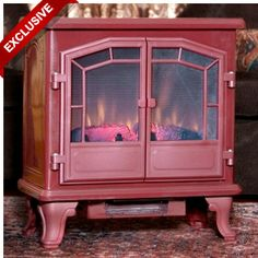 Comfort Smart Large Cranberry Freestanding Electric Stove with Remote Control - love this! Reminds me of my grandparents house Electric Stove Fireplace, Electric Fireplaces Direct, Cute Cottage, Shabby Chic Cottage, Remodeling Mobile Homes, Home Remodeling, Electric Logs, Cheap Mobile Homes, Kitchen Stove