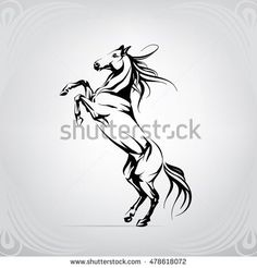 Silhouette of a horse on racks