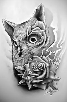 Pictures of black owl design - Smoke Tattoo, Tattoo L, Tattoo Bird, Rose Tattoos, Body Art Tattoos, Sleeve Tattoos, Tattoo Studio, Tatoo Manga, Buho Tattoo