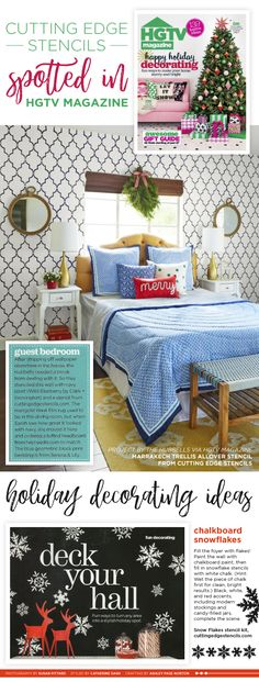 HGTV Magazine features Cutting Edge Stencils in two DIY Holiday Decorating Projects. http://www.cuttingedgestencils.com/wall-stencils-stencil-designs.html