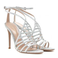 Gianvito Rossi Vega Glitter Sandals (7,390 MXN) ❤ liked on Polyvore featuring shoes, sandals, heels, sapatos, scarpe, silver, gianvito rossi, gianvito rossi sandals, silver heel sandals and silver glitter shoes