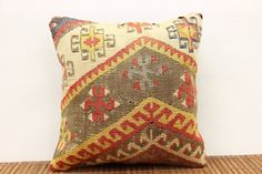 Bohemian Pillow Throw Kilim Pillow Cover Wool by ANATOLIANRUGS, $17.75