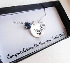 Mama Bird Necklace Gift for new mom Personalized by BriguysGirls, $35.00