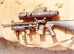 U.S. XM16E1 5.56mm assault rifle --- AN-PVS-2 Starlight night vision scope --- XM148 40mm grenade launcher (Vietnam War - 1967) [3800x2800] - Imgur