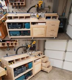 Miter saw stand plan with some personal modifications to meet his needs. | Completed project done by Rockler customer Elijah S. #WoodworkingBench