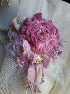 velvet rose shabby brooch corsage hair by susanjanescreations