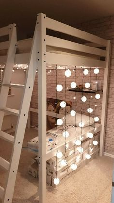 These lights please. Loft Beds For Small Rooms, Double Loft Beds, Bed For Girls Room, Girl Room, Teen Loft Bedrooms, Bedroom Ideas For Small Rooms For Teens For Girls, Bedroom Decor For Small Rooms, Small Apartment Bedrooms, Room Design Bedroom