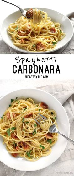 Spaghetti Carbonara is fast and easy dinner with just a few ingredients and a luxuriously creamy sauce. @budgetbytes