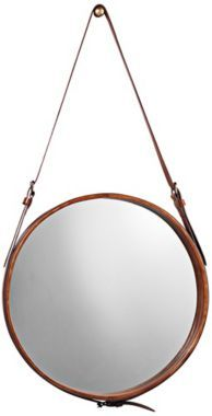 Leather Strap 29-Inch-H Jamie Young Round Wall Mirror - #EUU3443 - Euro Style Lighting