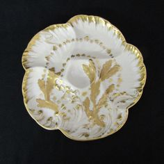 Antique Heirloom Quality French Porcelain OysterPlate Limoges -Paris... ($125) ❤ liked on Polyvore featuring home and kitchen & dining