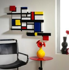 duct-tape-crafts : Mondrian style wall art