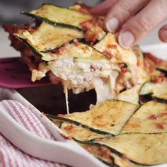 Craving Italian, but want to avoid the heavy carbs? By replacing the pasta with zucchini ribbons, this Zucchini Lasagna ditches the calories but keeps all the delicious flavor! Hello healthy!                                                                                                                                                     More