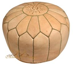Moroccan Poufs - Natural Leather Pouf