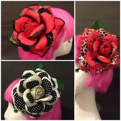 Extra large big pinup rockabilly hair flower red rose handmade by ParodyPetals Limited edition. Pinup rockabilly girl hair flower, retro, vintage, glamour. Leopard print love Polka dot love