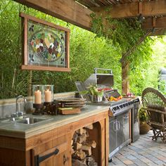 rustic outdoor bar and entertainment area with fireplace ideas