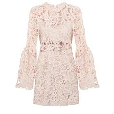 Peach Floral Lace Bell Sleeve Dress ($94) ❤ liked on Polyvore featuring dresses, short dresses, vestidos, mini dress, long floral dresses, short sleeve dress, floral dresses, long dresses and lace sleeve dress