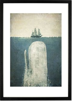 White Whale by Terry Fan, 42 x 59cm (A2) Framed Print from Made.com. Multi-Coloured. Award-winning illustrator, Terry Fan, finds inspiration in stor..