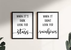 Stars & Rainbows print art quote - Set of 2 prints   positive quotes, inspirational quotes, motivational quotes, life quote print wall art by SmallMiraclePrints on Etsy