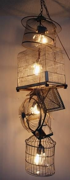 recycled vintage bird cages and Edison globes
