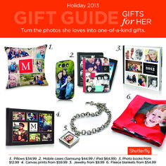#Holiday gift guide for her. Turn the photos she loves into gifts for her. They're sure to be a big hit. #Christmas.