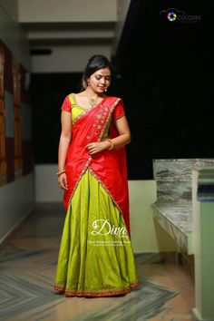 Half Saree Lehenga, Lehnga Dress, Frock Dress, Lehenga Blouse, Sarees, Gown, Kerala Engagement Dress, Engagement Dresses, Half Saree Designs