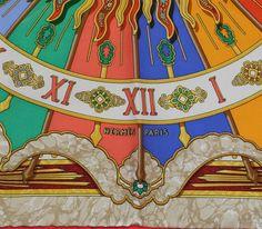 "Hermes Multi-Color ""Carpe Diem"" Printed Silk Small Scarf image 3"
