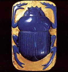 Ptolemaic Scarab - Glass & Gold. Greek. Circa 332-30 B.C.