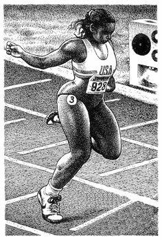 Beautiful woman with powerful legs finishing a race -Robert Crumb
