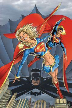 Superman, Batman and Supergirl by Ian Churchill Batman E Superman, Supergirl Superman, Batgirl, Comic Book Characters, Comic Character, Comic Books Art, Comic Art, Geeks, Hq Dc