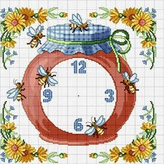 Jam jar clock with bees and flowers - free cross stitch pattern Cross Stitch Kitchen, Cross Stitch Love, Cross Stitch Pictures, Cross Stitch Flowers, Cross Stitch Charts, Cross Stitch Designs, Cross Stitch Patterns, Cross Stitching, Cross Stitch Embroidery