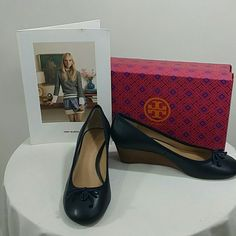 *Authentic tory Burch bright navy blue NWT Tag is on the box, box included,  blue emblem with bow tie, 2 inch heel,  can be dressed up or down Tory Burch Shoes