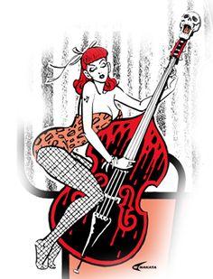 H Tattoo, Pin Up Tattoos, Guitar Tattoo, Rockabilly Guitar, Rockabilly Fashion, Rockabilly Style, Gothabilly, Nose Art, Psychobilly