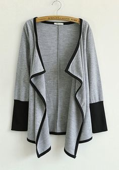 Grey Patchwork Asymmetric Long Sleeve Cotton Blend Outerwears
