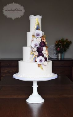 Wedding cake for a Midnight Luxe themed photo shoot at Sedgeford Hall in Norfolk