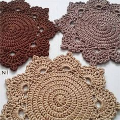 Crochet green doilies, lot of 6 pcs, lovely table decoration, Cotton flower coasters Love Crochet, Crochet Motif, Crochet Designs, Crochet Lace, Crochet Placemats, Crochet Dishcloths, Doily Patterns, Crochet Patterns, Crochet Dollies