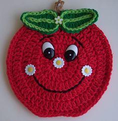 Cute Crochet Apple Potholder! Use photo for inspiration (no pattern).
