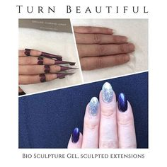 Bio Sculpture Gel: Sculpted helps extensions with free-edge gel. Topped with Evo Danielle (navy blue) and Chevron (silver sparkle) . Bio Sculpture Nails, Navy Nails, Sculpted Nails, Gel Extensions, Pointed Nails, Beauty Clinic, Vegan Beauty, Nail Tech, Evo