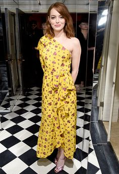 Look forward to SS17, where the bolder the bloom, the better (so says Balenciaga). Emma Roberts chose a canary-yellow ruffle dress with one-shoulder detailing (another SS17 tick-box), amping up the pretty with metallic pink peep-toes