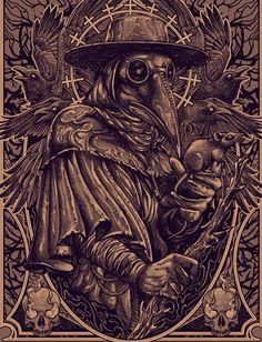 T-shirt artworks. Part one - t-shirt artworks. part one on Behance - Dark Fantasy Art, Dark Art, Noir Tattoo, Plauge Doctor, Doctor Tattoo, Plague Mask, Cute Tattoos For Women, Satanic Art, Arte Obscura